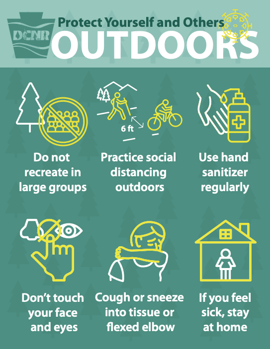Stay Healthy Outdoors graphic by PA Dept. of Conservation and Natural Resources