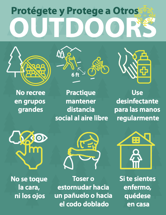 Stay Healthy Outdoors Spanish graphic by PA Dept. of Conservation and Natural Resources