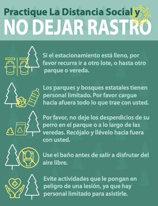 Leave No Trace Spanish graphic by PA Dept. of Conservation and Natural Resources
