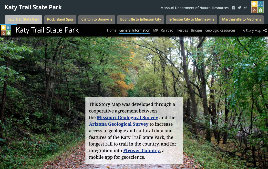 Screen Shot of Katy Trail State Park Storymap by Missouri Department of Natural Resources: https://arcg.is/1Pe15L0
