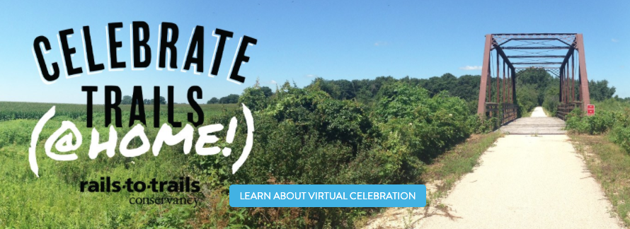 On April 18, RTC invites you to Celebrate Trails @ Home—an all-virtual  celebration of trails: railstotrails.org/celebratetrails