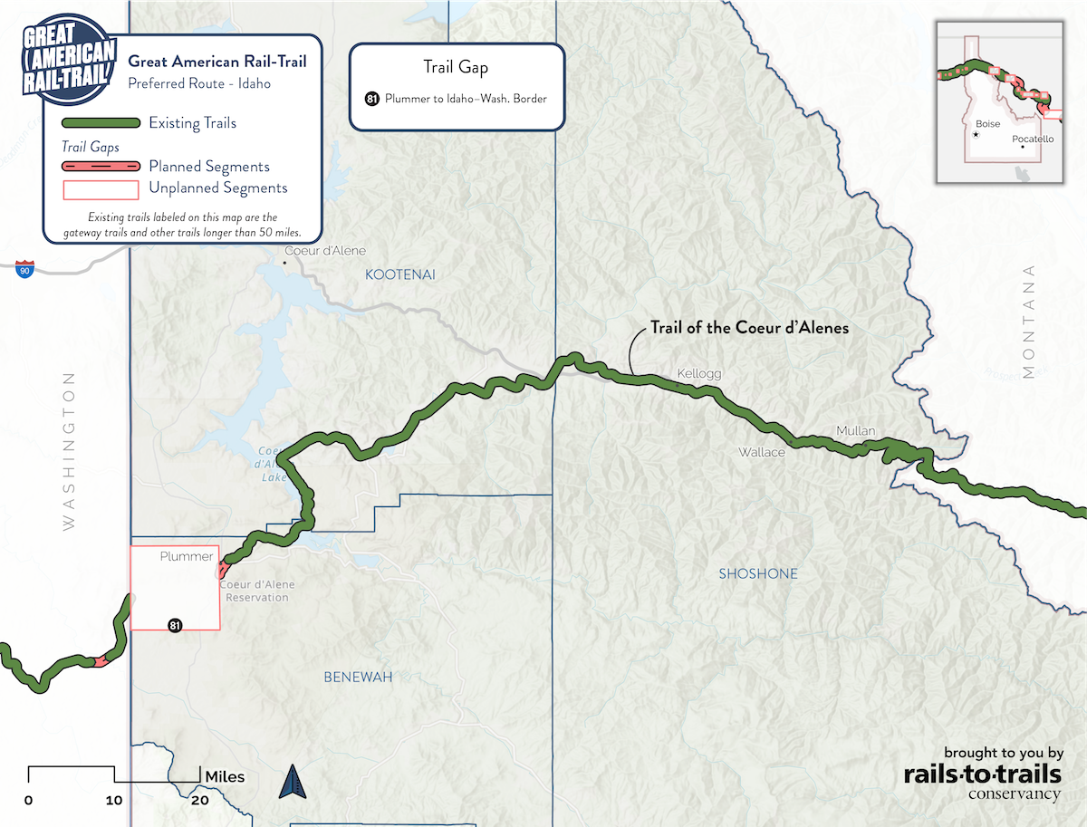 Great American Rail-Trail Preferred Route Idaho Map | Updated May 2020