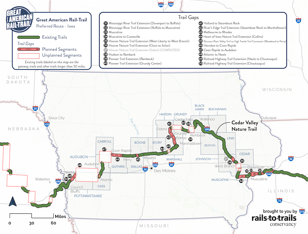 Great American Rail-Trail Preferred Route Iowa Map | Updated May 2020