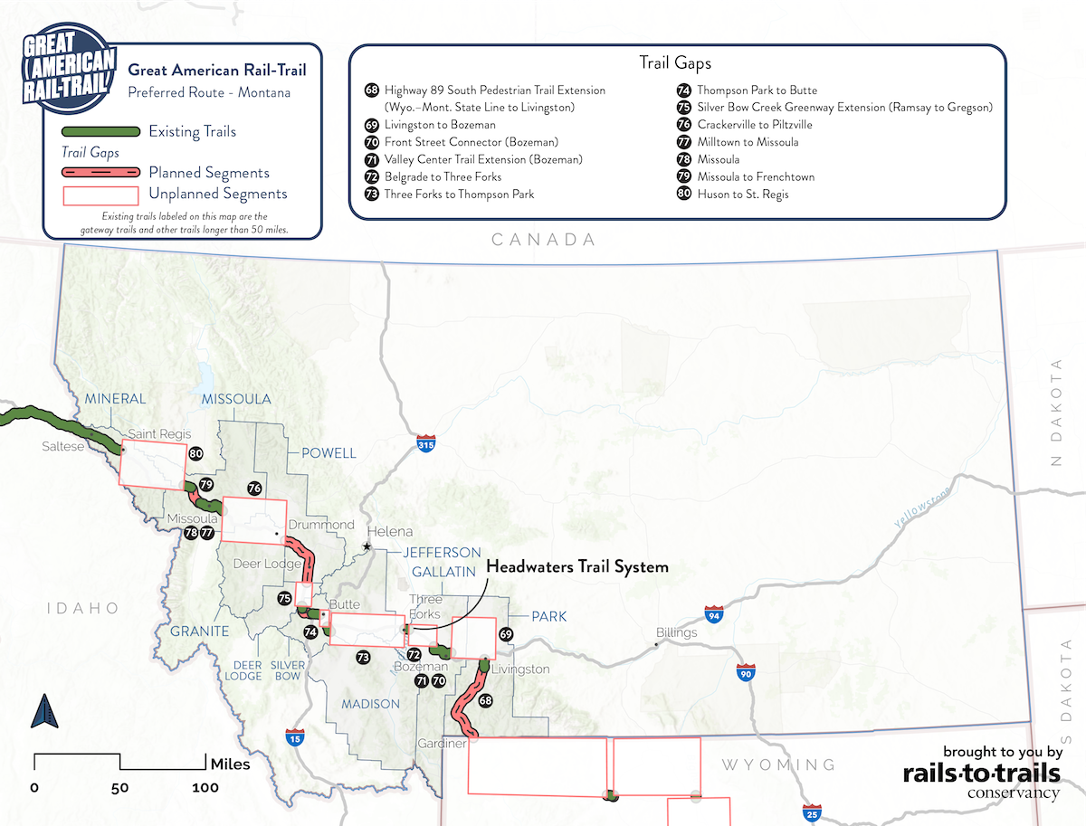 Great American Rail-Trail Preferred Route Montana Map | Updated May 2020