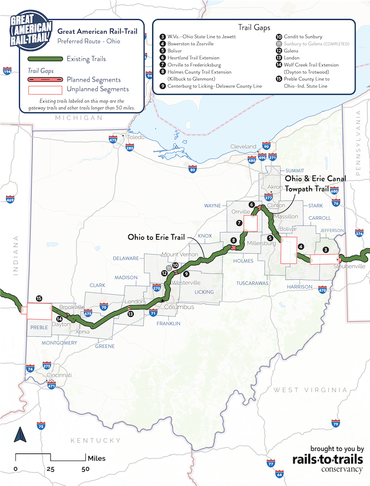 Great American Rail-Trail Preferred Route Ohio Map | Updated May 2020