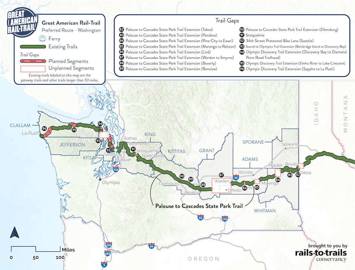 Great American Rail-Trail Preferred Route Washington Map | Updated May 2020