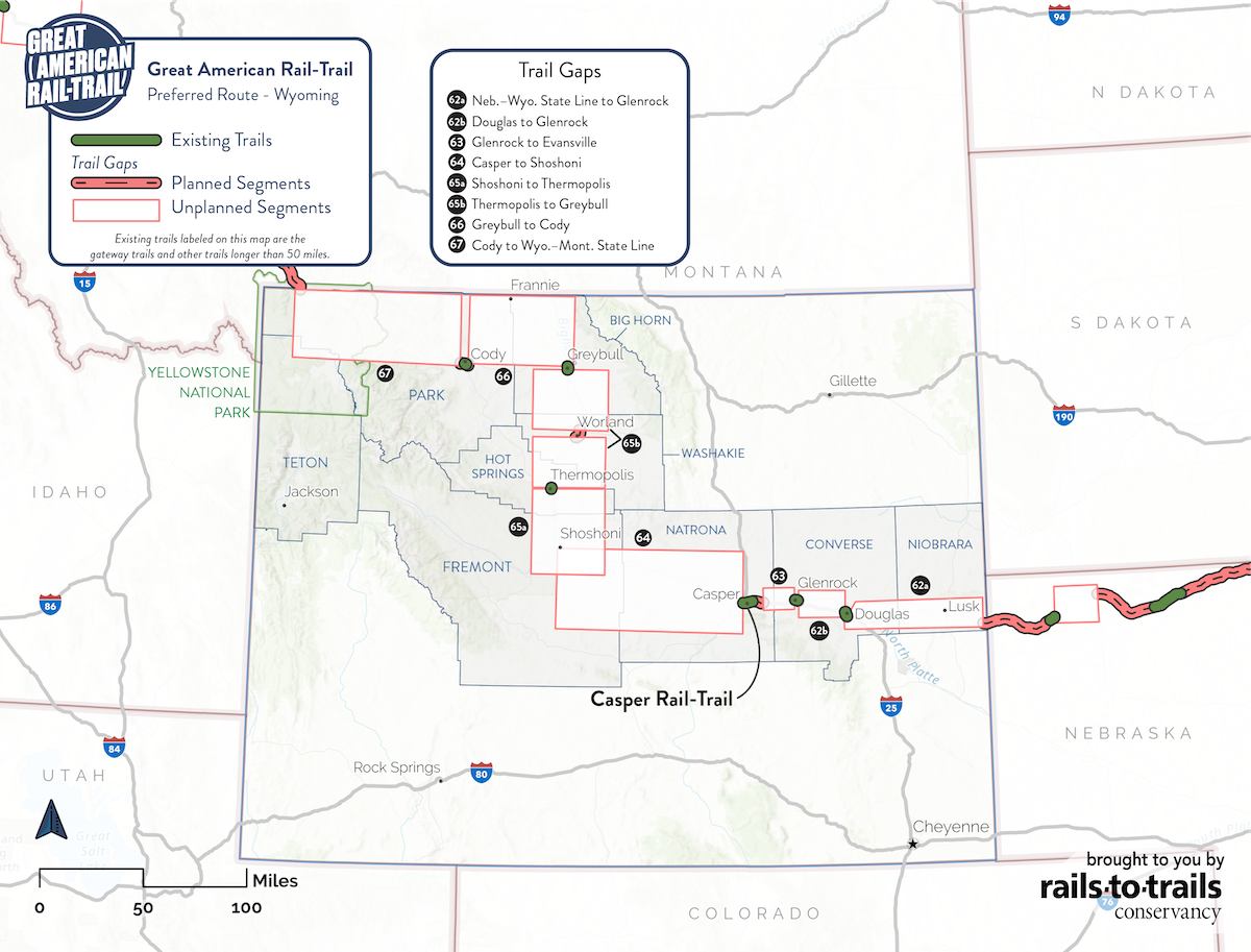 Great American Rail-Trail Preferred Route West Wyoming Map | Updated May 2020