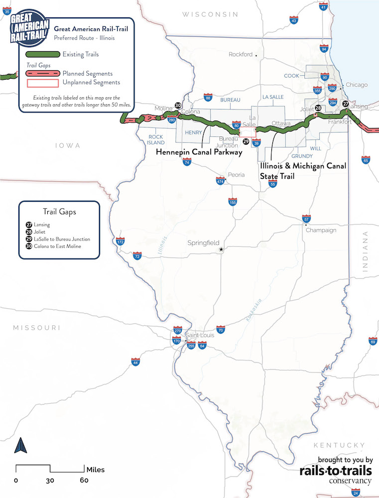 Great American Rail-Trail Preferred Route Illinois Map | Updated May 2020