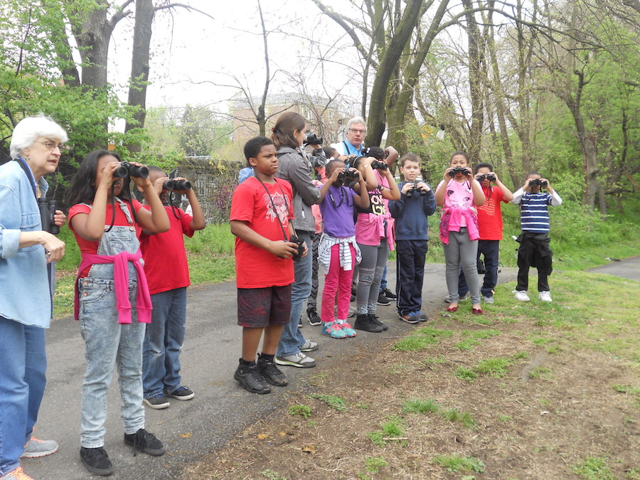 Students exploring nature along the Tacony Creek Trail | Courtesy Olney Christian School
