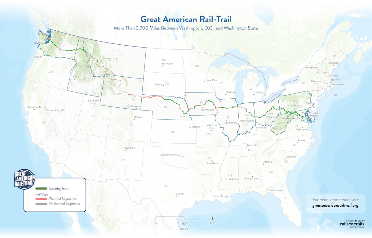 Great American Rail-Trail Preferred Route National Map | Updated May 2020