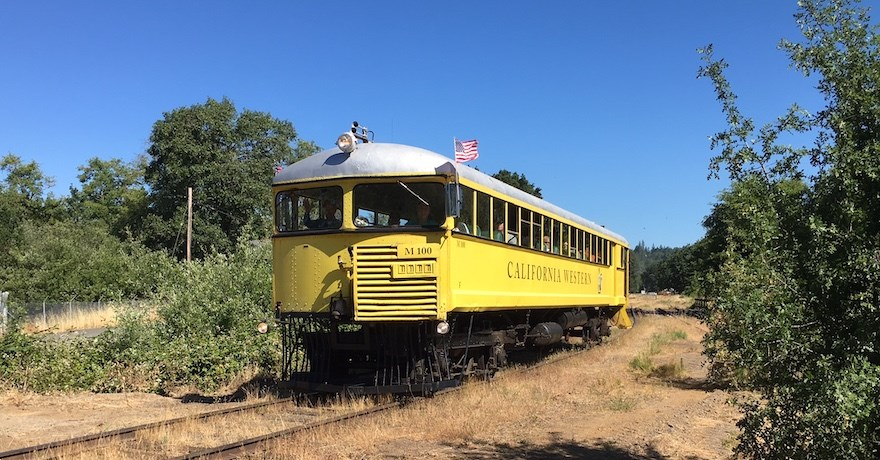 Skunk Train along the Willits Rail-with-Trail corridor in California | Photo by Laura Cohen, courtesy RTC