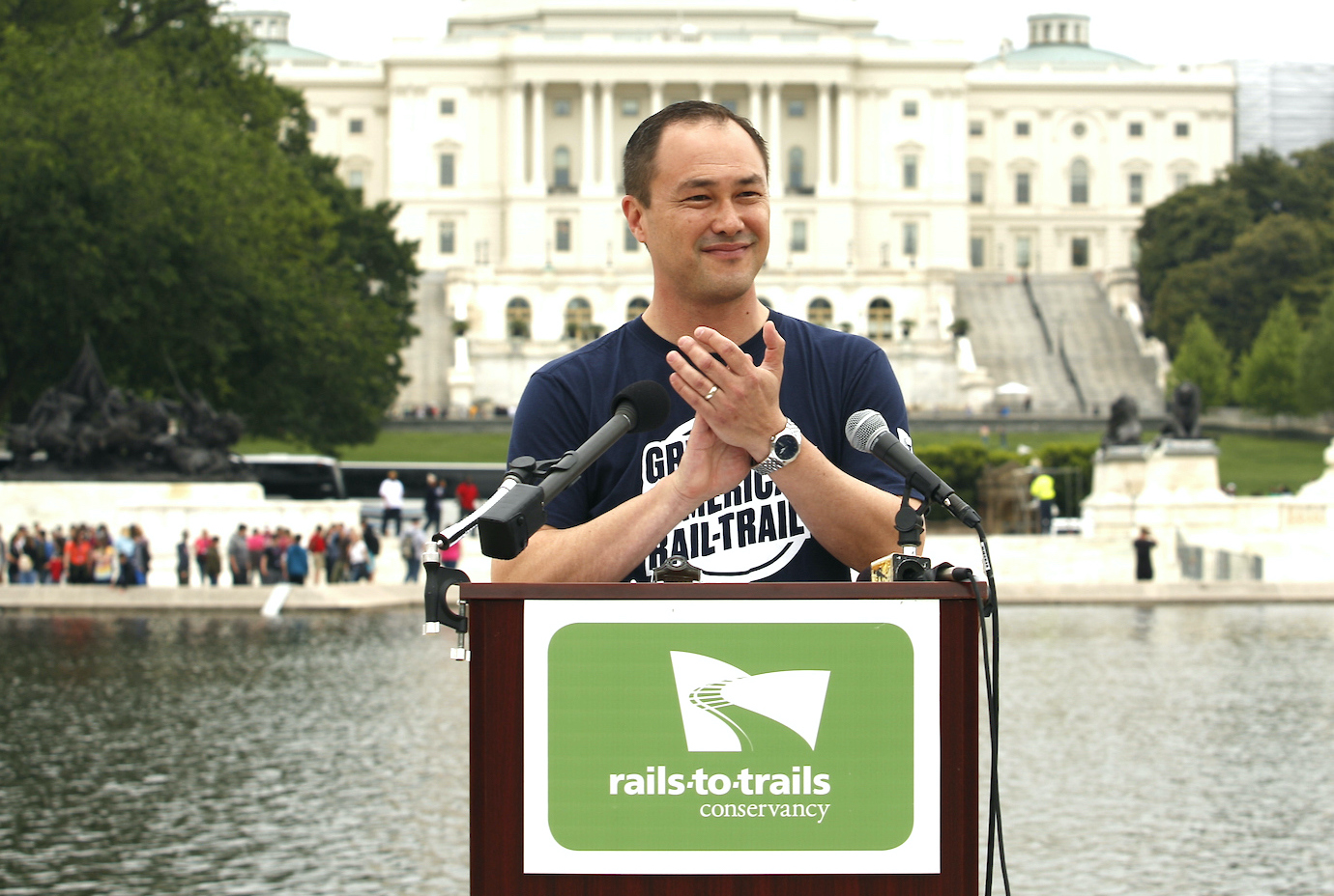 Ryan Chao addressing the crowd at the Great American Rail-Trail preferred route reveal in Washington, D.C., May 2019 | Courtesy RTC
