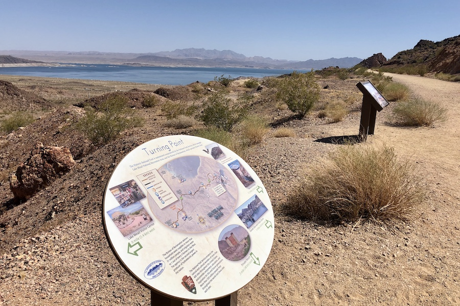 Interpretive signs along the Historic Railroad Trail | Photo by Cindy Barks