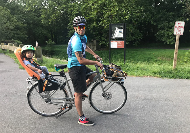 Jorge Brito and son on the W&OD Trail in Northern Virginia | Courtesy Jorge Brito