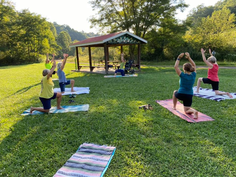 Yoga at the Masontown trailhead along the Deckers Creek Trail | Courtesy Preston County Parks and Recreation