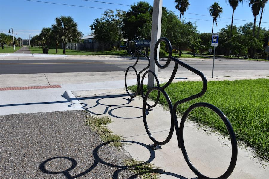 Bicycle racks along the Historic Battlefield Trail | Photo by TrailLink user Christina Garza