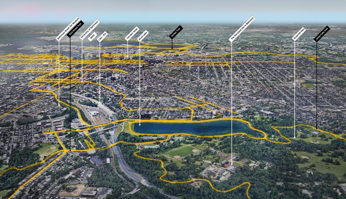 Aerial view of the proposed Baltimore Greenway Trails Network plan and the city's existing bike lanes and trails looking south from Druid Hill Park. | Courtesy Unknown Studio