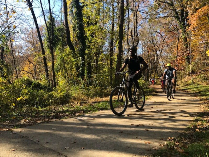 Ethan Abbott, RTC Trail Development Manager, on the Herring Run Trail | Courtesy Molly Gallant